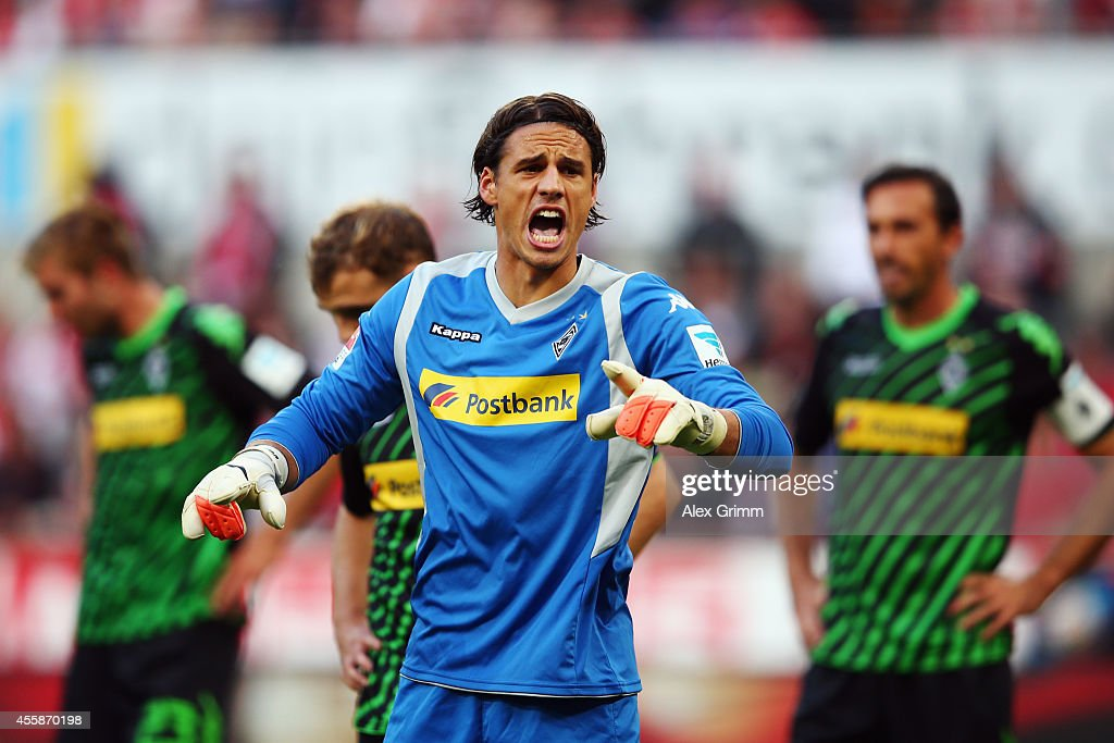 Goalkeeper <a gi-track='captionPersonalityLinkClicked' href=/galleries/search?phrase=Yann+Sommer&family=editorial&specificpeople=5781332 ng-click='$event.stopPropagation()'>Yann Sommer</a> of Moenchengladbach reacts during the Bundesliga match between 1. FC Koeln and Borussia Moenchengladbach at RheinEnergieStadion on September 21, 2014 in Cologne, Germany.