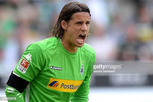 Goalkeeper Yann Sommer of Moenchengladbach reacts during the Bundesliga match between Borussia Moenchengladbach and Bayer Leverkusen at BorussiaPark...