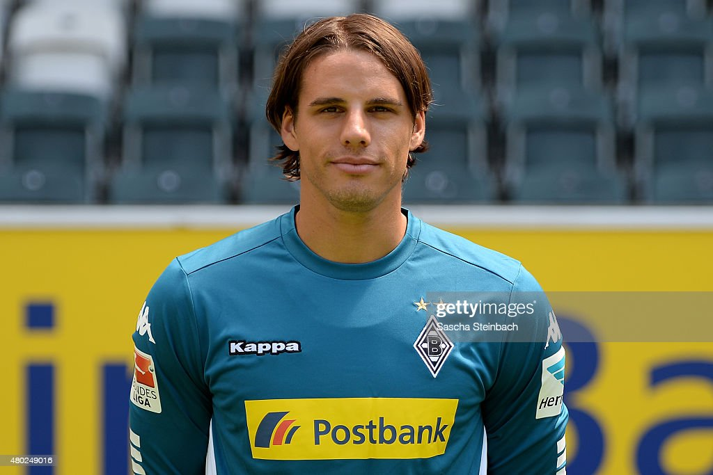 Goalkeeper <a gi-track='captionPersonalityLinkClicked' href=/galleries/search?phrase=Yann+Sommer&family=editorial&specificpeople=5781332 ng-click='$event.stopPropagation()'>Yann Sommer</a> poses during the team presentation of Borussia Moenchengladbach at Borussia-Park on July 10, 2015 in Moenchengladbach, Germany.