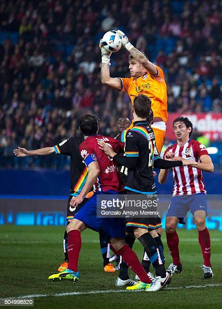 Goalkeeper Yoel Rodriguez of Rayo Vallecano de Madrid stops the ball during the Copa del Rey Round of 16 second leg match between Club Atletico...