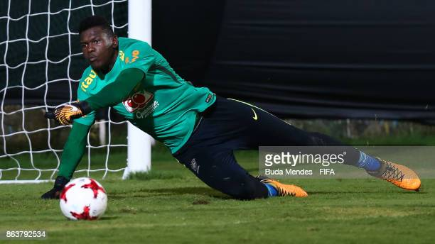 Goalkeeper Yuri Sena of Brazil in action during the training session ahead of the FIFA U17 World Cup India 2017 tournament at Kolkata 2 Training...