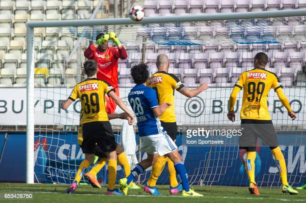Goalkeeper Yvon Mvogo makes a save during the Swiss Super League match between FC LausanneSport and BSC Young Boys at Stade Olympique de la Pontaise...