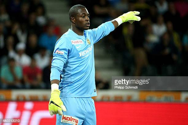 Goalkeeper Yvon Mvogo of BSC Young Boys directs his teammates during the UEFA Champions League third qualifying round 1st leg match between BSC Young...