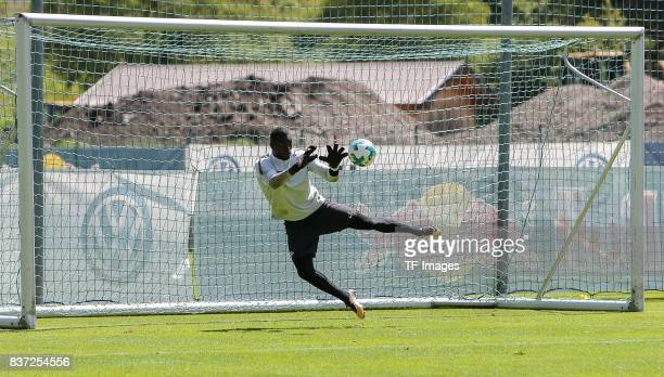Goalkeeper Yvon Mvogo of RB Leipzig controls the ball during the Training Camp of RB Leipzig on July 21 2017 in Seefeld Austria