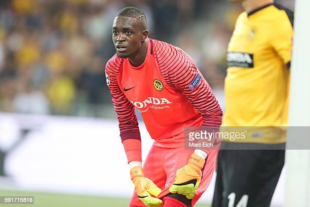 Goalkeeper Yvon Mvogo of Young Boys Bern during the Champions League Playoff match between Young Boys Bern and Borussia Moenchengladbach at Stade de...