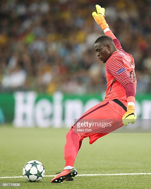 Goalkeeper Yvon Mvogo of Young Boys Bern in action during the Champions League Playoff match between Young Boys Bern and Borussia Moenchengladbach at...