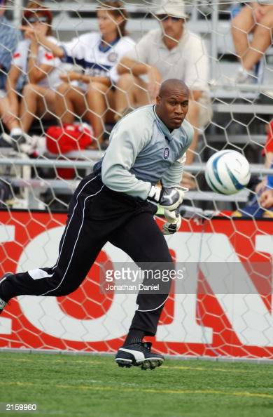 Goalkeeper Zach Thornton of the Chicago Fire goes after the ball during their MLS game against the NY/NJ MetroStars on June 28 2003 at Cardinal...