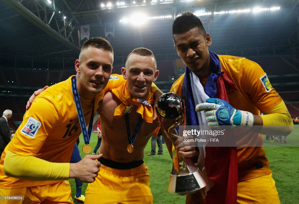 Goalkeepers Alphonse Areola, Maxime Dupe and Paul Charruau celebrate with the cup after winning the FIFA U-20 World Cup Final match between France and Uruguay at Ali Sami Yen Arena on July 13, 2013 in Istanbul, Turkey.