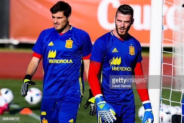 Goalkeepers David de Gea and Iker Casillas of Spain of Spain look on during a training session at La Ciudad del Futbol de las Rozas on June 6 2016 in...