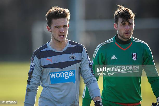 Goalkeepers Freddie Woodman of Newcastle and Fulham Goalkeeper Marcus Bettinelli walk off the pitch during The Barclays Under 21 Premier League match...