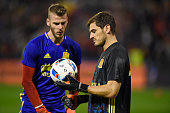 Goalkeepers Iker Casillas and David De Gea of Spain in discussion as they warm up prior to the international friendly match between Spain and England...