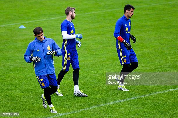 Goalkeepers Iker Casillas David de Gea and Sergio Rico of Spain warm up during a training session on May 30 2016 in Schruns Austria