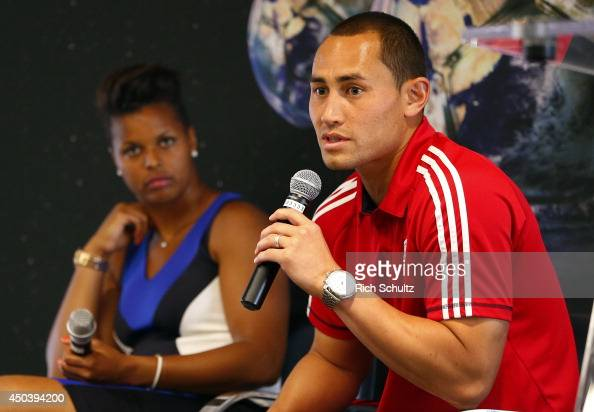 Goalkeepers Karina LeBlanc of the Chicago Red Stars and Luis Robles of the New York Red Bulls take part in a discussion ''Perspectives from the...