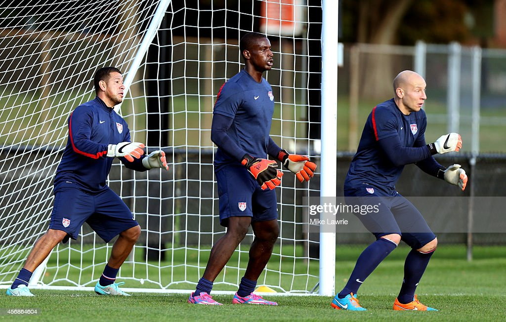 Goalkeepers Nick Rimando, Bill Hamid and Brad Guzan train during a United States soccer training session at Ohiri Field on October 8, 2014 in Boston, Massachusetts.