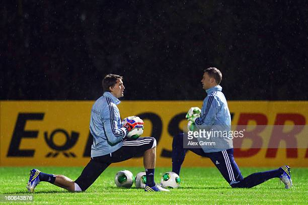 Goalkeepers Rene Adler and Manuel Neuer attend a Germany training session at CommerzbankArena on February 4 2013 in Frankfurt am Main Germany