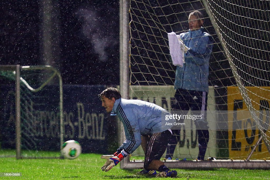 Goalkeepers Rene Adler (front) and Manuel Neuer attend a Germany training session at Commerzbank-Arena on February 4, 2013 in Frankfurt am Main, Germany.