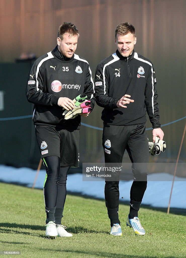 Goalkeepers Rob Elliot (L) and Jak Alnwick attend a Newcastle United training session at the Little Benton training ground on February 28, 2013 in Newcastle upon Tyne, England.