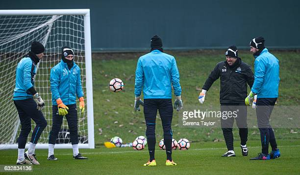 Goalkeepers seen LR Karl Darlow Paul Woolston Matz Sels and Rob Elliot kick the ball with Goalkeeping coach Simon Smith during the Newcastle United...