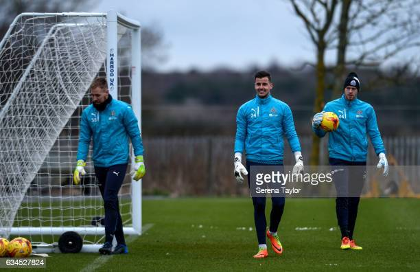 Goalkeepers seen LR Rob Elliot Karl Darlow and Matz Sels during the Newcastle United Training Session at The Newcastle United Training Centre on...