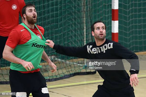 Goalkeepers Silvio Heinevetter and Andreas Wolff attend a Germany training session at Germinal during the 25th IHF Men's World Championship 2017 on...