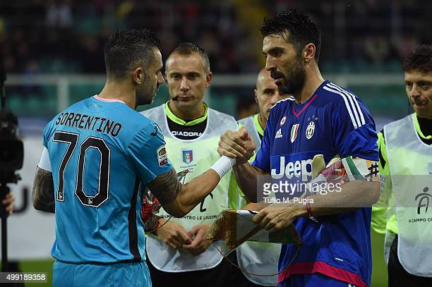 goalkeepers Stefano Sorrentino of Palermo and Gianluigi Buffon of Juventus shake hands during the Serie A match between US Citta di Palermo and...