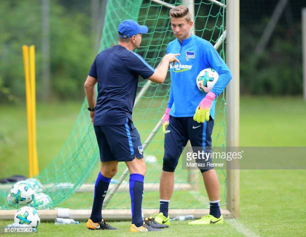 goalkeepertrainer Zsolt Petry and Jonathan Klinsmann during the first day of the training camp of Hertha BSC on July 8 2017 in Bad Saarow Germany