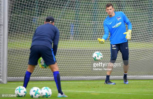 goalkeepertrainer Zsolt Petry and Rune Almenning Jarstein of Hertha BSC during the training on july 7 2017 in Berlin Germany