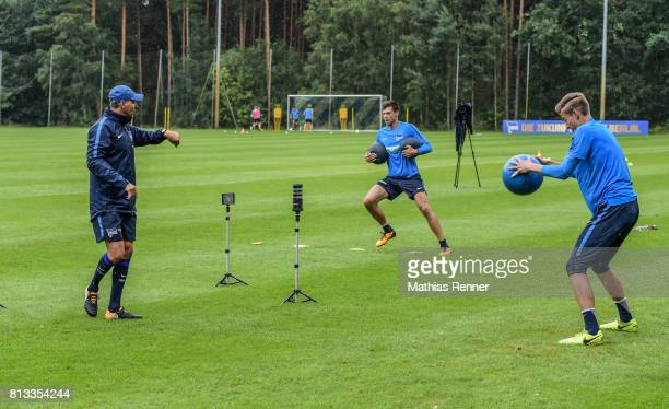goalkeepertrainer Zsolt Petry Rune Almenning Jarstein and Jonathan Klinsmann during the fifth day of the training camp of Hertha BSC on july 12 2017...