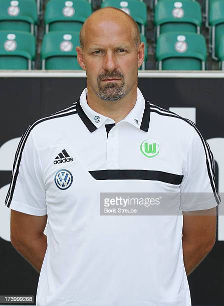 Goalkeeping coach Andreas Hilfiker of VfL Wolfsburg poses during the Bundesliga team presentation of VfL Wolfsburg at Volkswagen Arena on July 18...