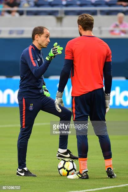 PSG goalkeeping coach Javi Garcia and Kevin Trapp of PSG before the International Champions Cup match between Paris Saint Germain and Tottenham...