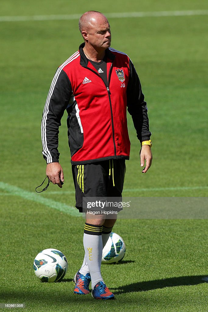 Goalkeeping coach Jonathan Gould looks on during a Wellington Phoenix A-League training session at Westpac Stadium on February 26, 2013 in Wellington, New Zealand.
