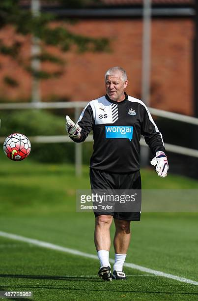 Goalkeeping Coach Simon Smith throws the ball during the Newcastle United Training session at The Newcastle United Training Centre on September 11 in...