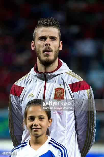 Goalkeepr David de Gea of Spain stands prior to start the international friendly match between Spain and Costa Rica at Reino de Leon Stadium on June...