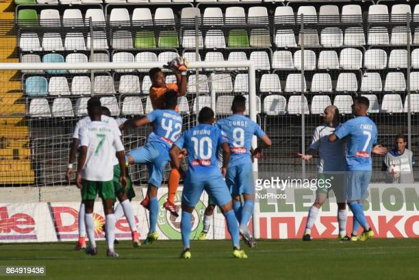 Goalkeepr Devis Epassy Mboka of Levadiakos keeps the ball The surprise team of the Greek first tier national championship Super League Levadiakos FC...