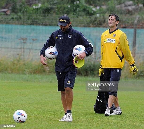 goalkepeer coach Luca Bucci and Nicola Pavarini goalkepeer of Parma during a Parma FC preseason training session at the Hives centre in London on...