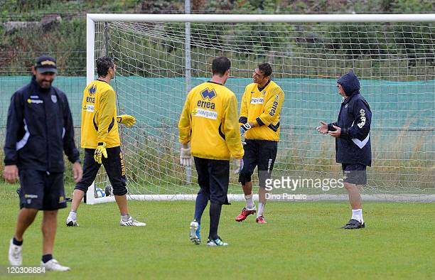 goalkepeer coach Luca Bucci Nicola Pavarini Marco D'Arsie' Antonio Mirante goalkepeer of Parma and assistant coach Giovanni Mei during a Parma FC...