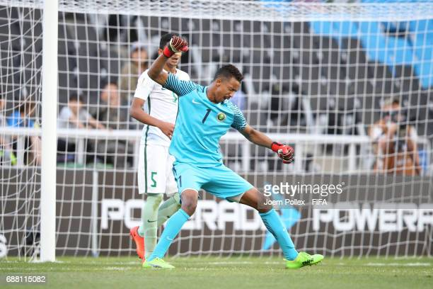 Goalkepper Amin Albukhari of Saudi Arabia celebrates after saving a penalty during the FIFA U20 World Cup Korea Republic 2017 group F match between...