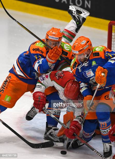 Goalmouth action during the Ice Hockey Elite League Challenge Cup Final between Sheffield Steelers and Cardiff Devils at Ice Arena Wales on March 5...