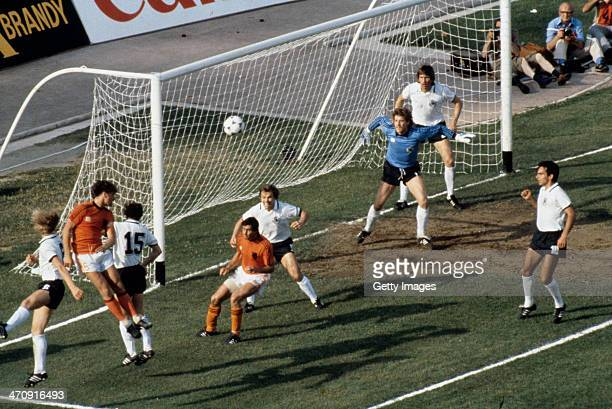 Goalmouth action during the UEFA European Championships 1980 Final match between Germany and Belguim held on June 14 1980 at the Stadio San Paolo in...