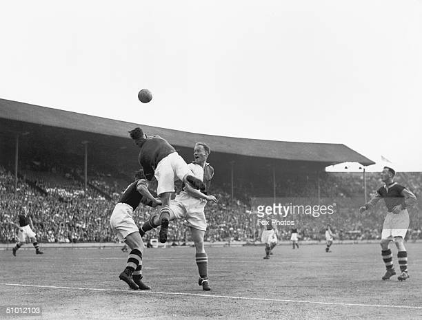 A goalmouth incident during a wartime FA Cup match between Blackburn and West Ham circa 1942