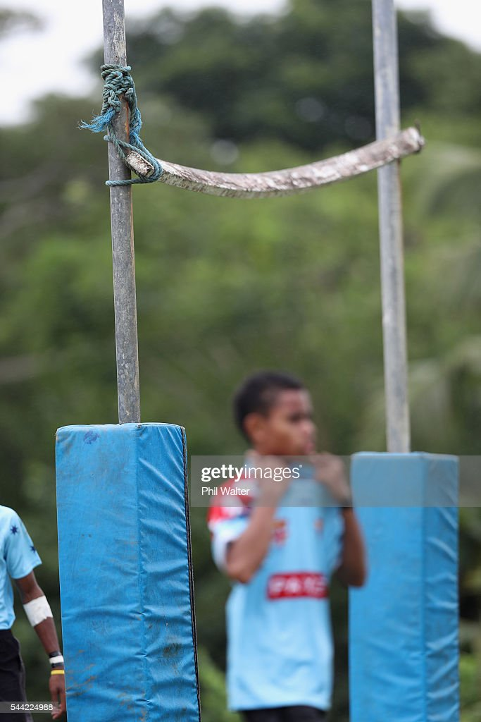 Goalposts are strung togeather with rope during the Fiji Schoolboy Rugby match between St Stanislaus College and Andhra Secondary School on July 2, 2016 in Nadi, Fiji.
