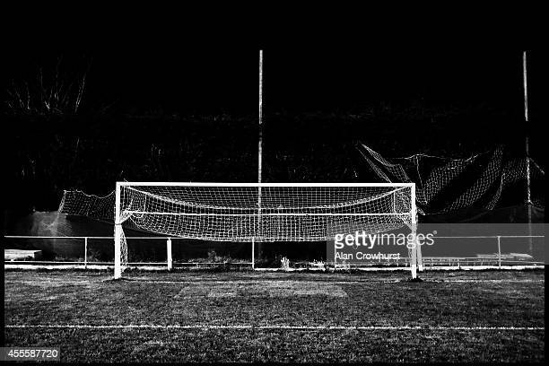 Goalposts during the FA Cup Qualifying First Round Replay between East Preston FC and Peacehaven Telscombe FC at the Lashmar on September 16 2014 in...