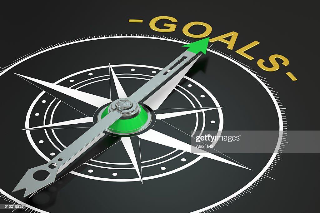 Goals compass concept, 3D rendering : Stock Photo