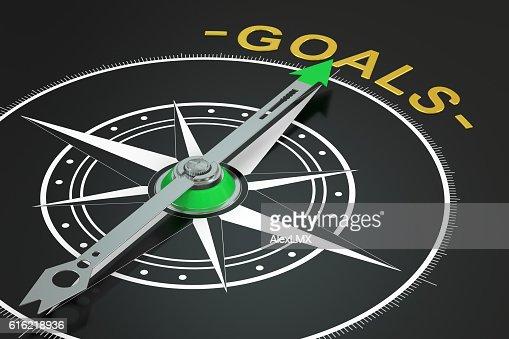 Goals compass concept, 3D rendering : Stockfoto