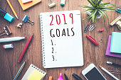 2019 goals text on notepad with office accessories.Business plan,direction concepts ideas
