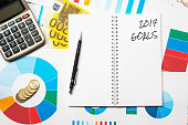 2017 goals title on colorful charts, calculator and euro money background