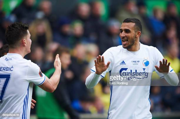 Goalscorer Benjamin Verbic and Youssef Toutouh of FC Copenhagen celebrate after scoring their first goal during the Danish Alka Superliga match...
