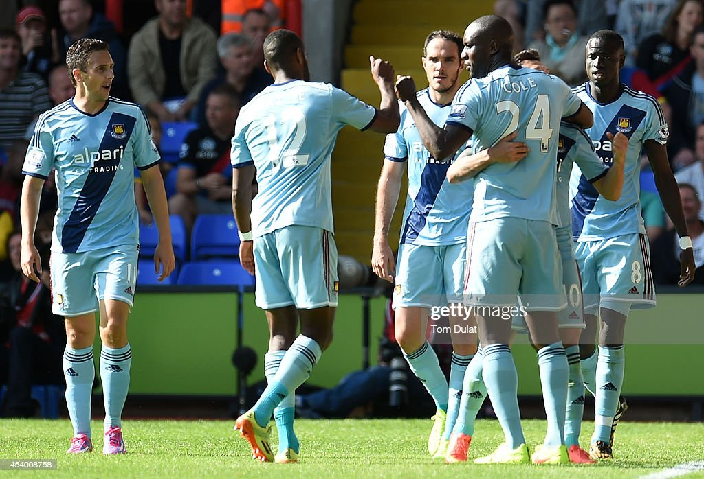 Goalscorer Carlton Cole (no.24) of West Ham United celebrates his goal during the Premiere League match between Crystal Palace and West Ham United at Selhurst Park on August 23, 2014 in London, England.