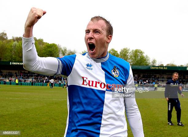 Goalscorer David Clarkson celebrates after the final whistle during the Sky Bet League Two match between Wycombe Wanderers and Bristol Rovers at...