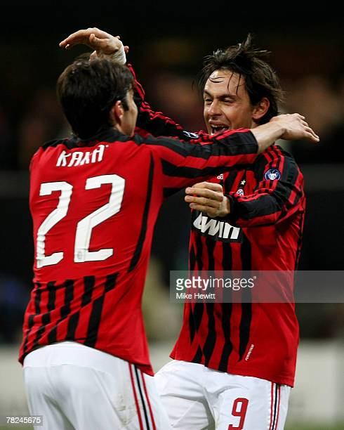 Goalscorer Filippo Inzaghi of Milan celebrates with Kaka during the UEFA Champions League Group D match between AC Milan and Celtic at the San Siro...